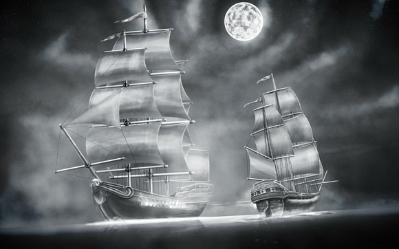Sailing Ship Under moon shining - free wallpaper