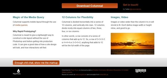 Columnal - free html5 frameworks