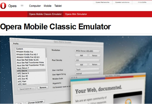 Opera Mobile Emulator - responsive web design testing tools