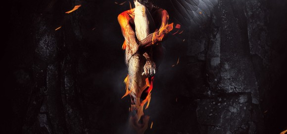One-Winged Fallen Angel Scene - photoshop tutorials