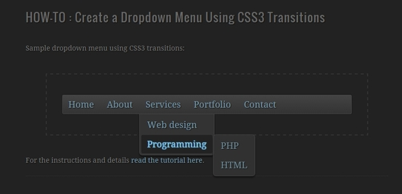 Dropdown Menu Using CSS3 Transitions
