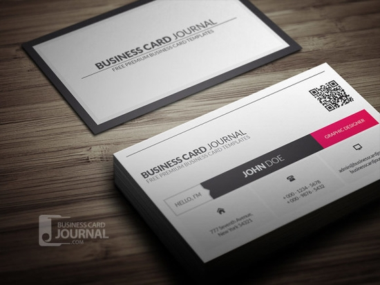 Metro Style Business Card Template With QR Code - design business cards