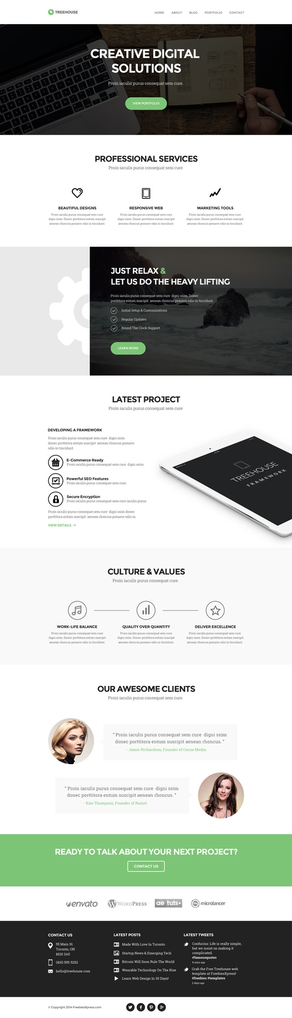 Treehouse - free website templates