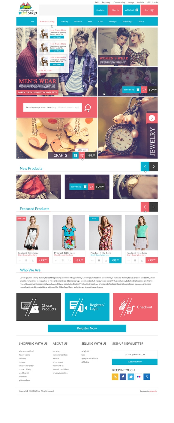 Gift Shop - free psd website templates