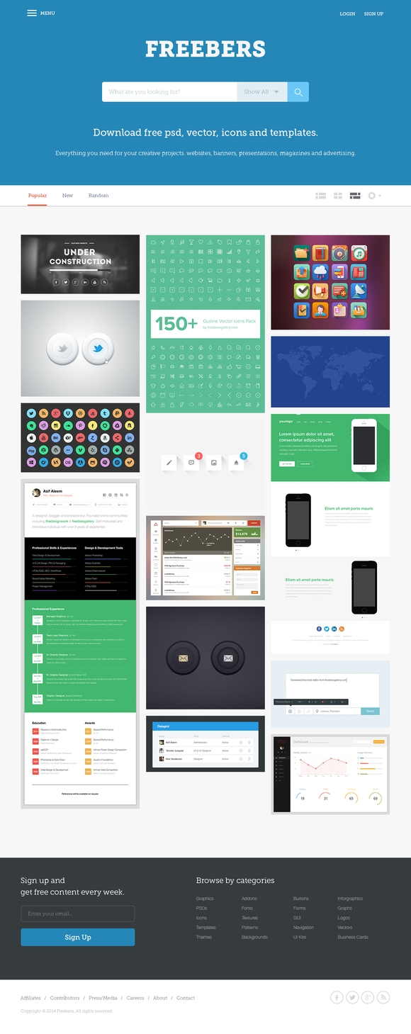 Freebers - free psd template download