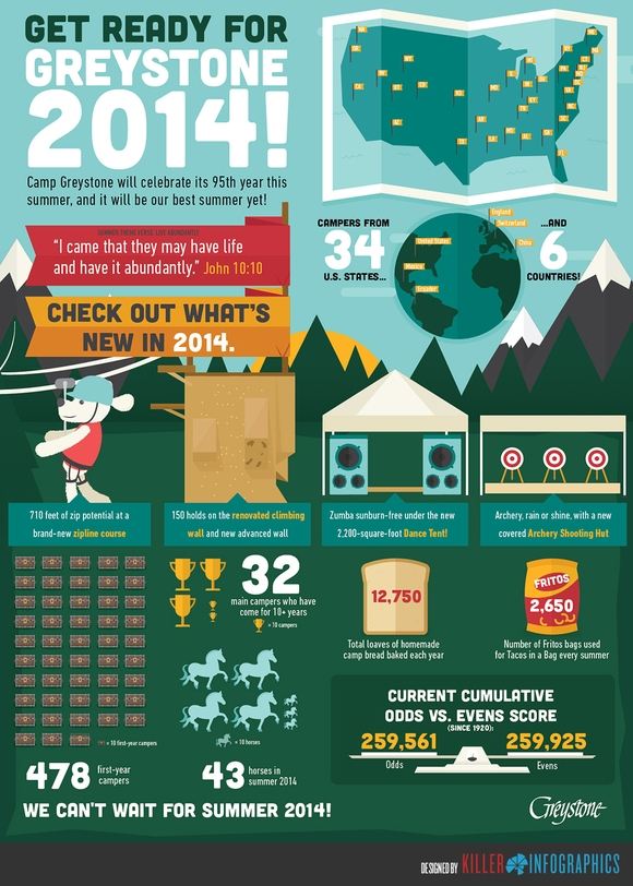 Camp Greystone - web design infographics