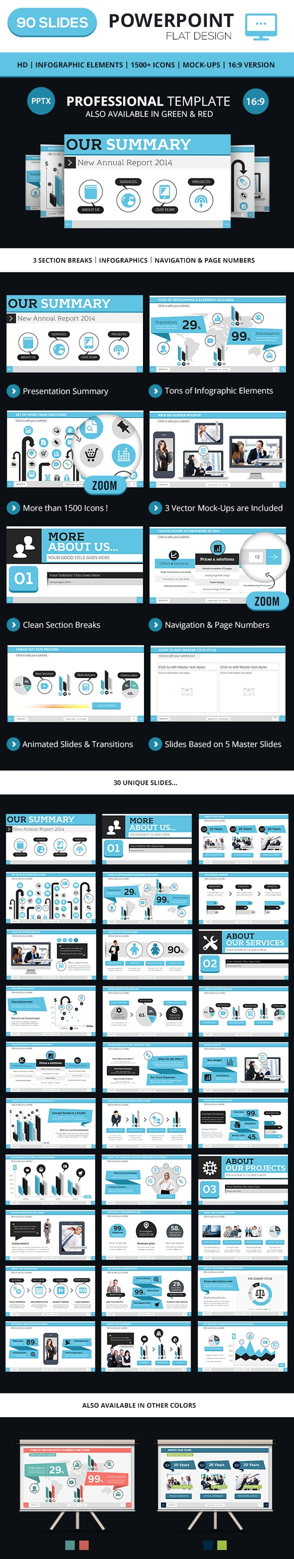 Modern PowerPoint Business Presentation Template - web design 2014