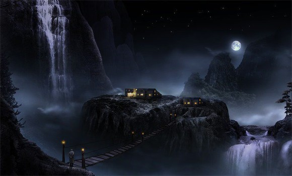 Marvellous Night Landscape with Waterfalls - photo manipulation tutorials