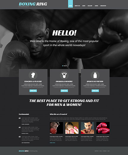 boxing - black and white WordPress themes