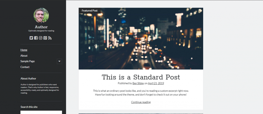 author wordpress theme for writers