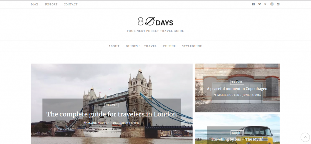 eighty days wordpress theme for travel blogs