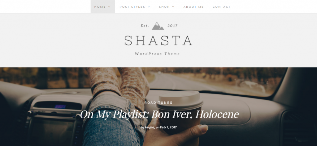 shasta wordpress theme for lifestyle blogs