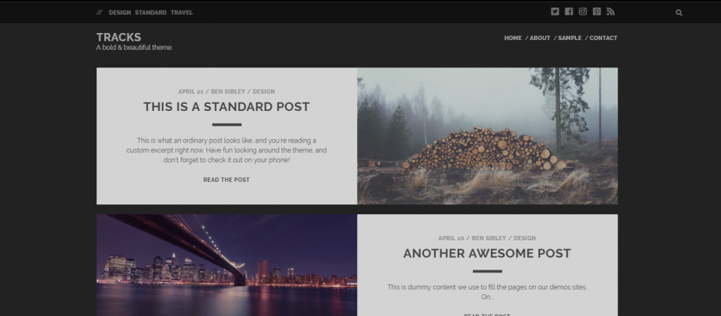 tracks wordpress theme for blogs