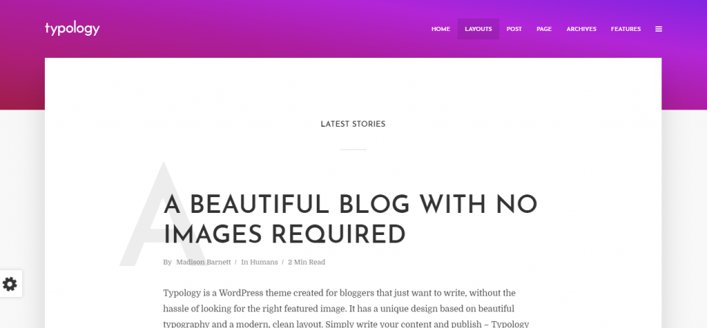 typology wordpress theme for blog