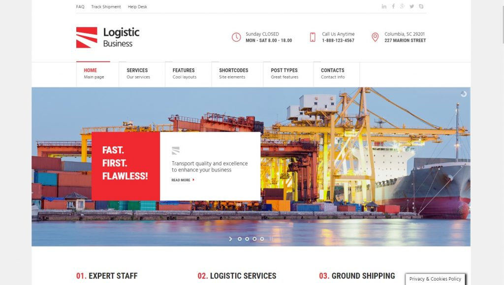 logistic business wordpress theme