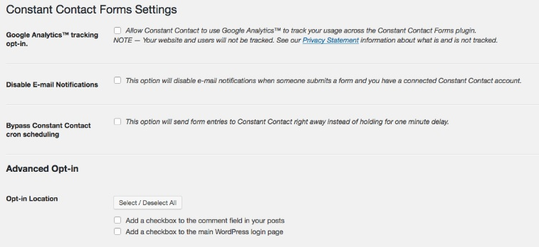 constant contact wordpress plugin