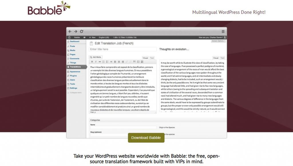 babble wordpress plugin