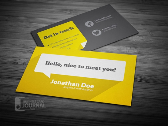 Flat Design Business Card Template With Long Shadow - free business cards