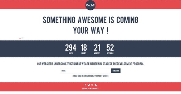 Ouch Under construction website template - coming soon pages examples